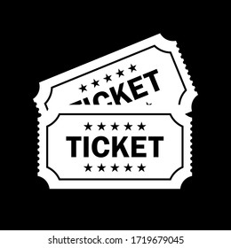 Tickets vector icon isolated on black background