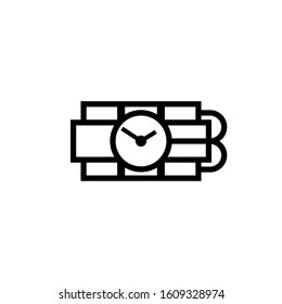Ticking time bomb outline icon. Clipart image isolated on white background