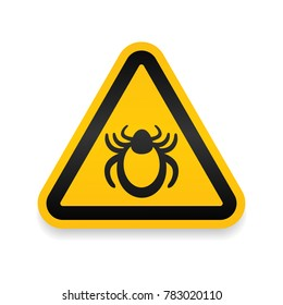 Ticks warning mite bug icon. Encephalitis parasite icon. Vector illustration of tick warning sign. Beetle tick danger crossed sign vector flat icon. Tick mite bug Attention sign. Forbidden sign