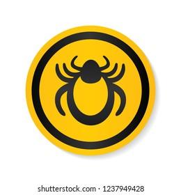 Ticks warning mite bug sign. Encephalitis parasite icon. Beetle tick danger crossed sign vector flat icon. Tick mite bug Attention symbol. Forbidden sign