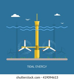 Tidal power plant and factory. Tidal turbines. Green energy industrial concept. Vector illustration in flat style. Tidal power station background. Renewable energy sources.
