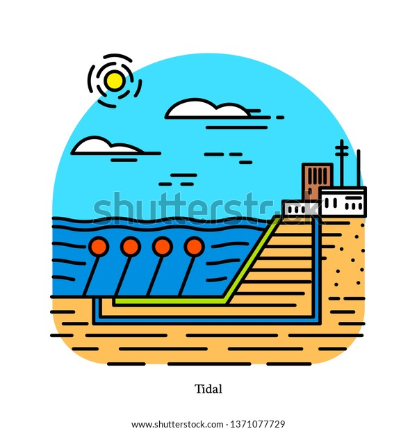 Tidal Power Plant Form Hydropower That Stock Vector (Royalty