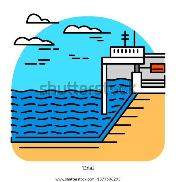 Tidal Power Plant Form Hydropower That Stock Vector (Royalty Free