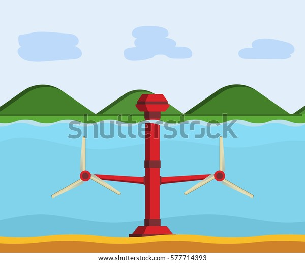 Tidal Power Station Flat Style Cartoon Stock Vector (Royalty Free