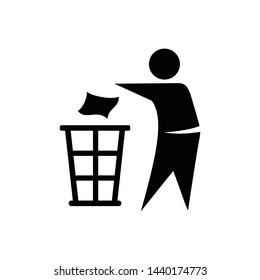 Tidy man. Do not litter icon symbol vector
