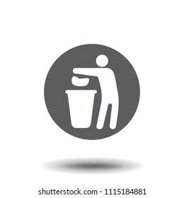 Tidy man symbol, do not litter icon, keep clean, dispose of carefully and thoughtfully symbol