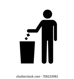 Tidy man symbol, do not litter icon, keep clean.