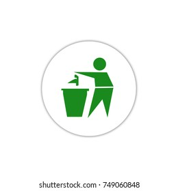 Tidy man symbol , do not litter icon , keep clean , dispose of carefully and thoughtfully symbol. vector illustration