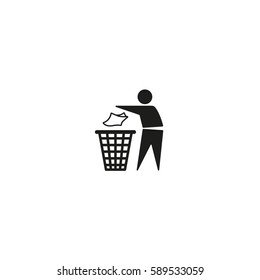 Tidy man symbol isolated on white background vector illustration. Do not litter, keep clean , dispose of carefully and thoughtfully sign. International standard black packaging pictogram.