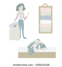 Tidying up Vector icon set. Closet organization illustration. House keeping. Tidy up. Declutter and tidying up concept. Woman with bag decluttering her clothes. Pile of clothes on bed. Before after.
