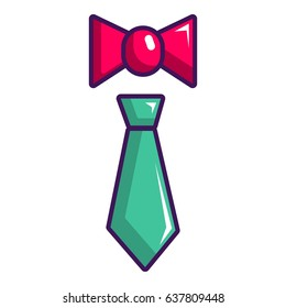 Tie and bow tie icon. Cartoon illustration of tie and bow tie vector icon for web