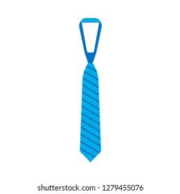 Tie clothing vector accessory element businessman. Flat silk blue necktie simple icon.