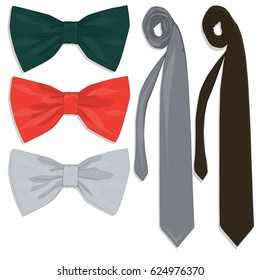 Tie collection. Bow tie. Vector illustration.