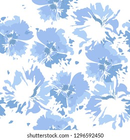 Tie dye background. Seamless hand drawn pattern tie dye shibori print. Ink textured background, japan rustic batik fabric. Vector illustration.