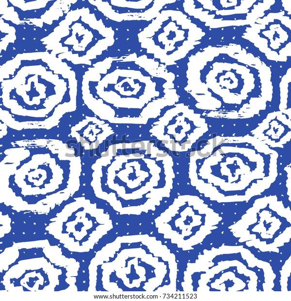 Tie Dye Pattern Japanese Print Batik Stock Vector (Royalty