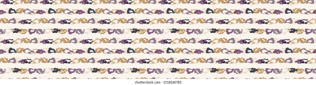 Tie dye stripe geometric variegated border background. Seamless pattern horizontal dyed broken line. Boho gradient textile blend edging banner. Trendy batik wax resist ethnic ribbon trim. Gold Purple