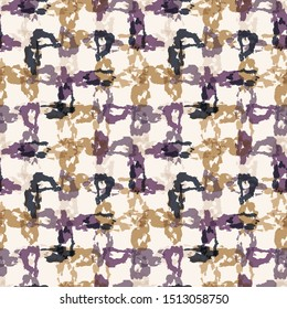 Tie dye stripe woven grid variegated background. Seamless pattern dyed broken line weave. Boho gradient textile blend all over print. Trendy batik wax resist ethnic fashion fabric swatch. Gold Purple