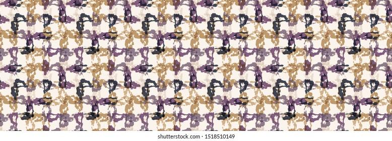 Tie dye stripe woven grid variegated border background. Seamless pattern dyed broken line weave. Boho gradient textile blend ribbon trim. Trendy batik wax resist ethnic fashion edging. Gold Purple