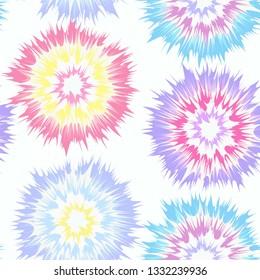Tie Dye Vector Repeat Pattern Seamless Multi Color Pastel