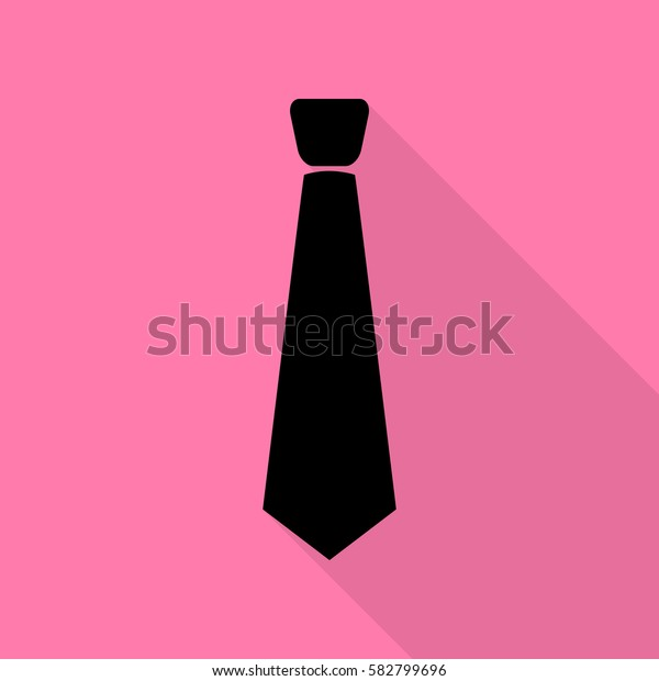 Tie sign illustration. Black icon with flat style shadow path on pink background.