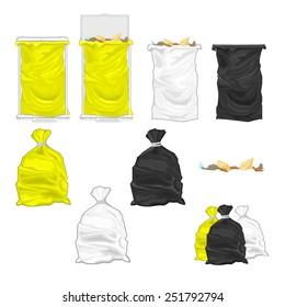 Tied garbage bags and bins.