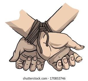 tied up hands, vector illustration