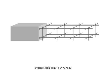 A tied rebar cage, vector image