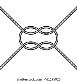 Tied square knot on white background