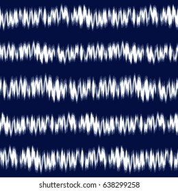 Tie-dye design with navy and white stripes. Editable vector seamless pattern repeat.