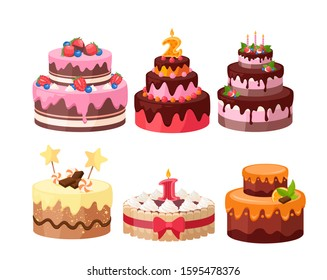 Tiered cakes colorful flat vector illustrations set. Birthday and wedding cakes decorated with candies, chocolate, berries and fruits collection. Tasty sweet desserts isolated on white background.