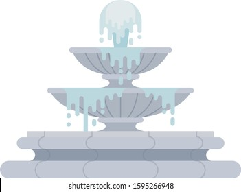 Tiered fountain with water vector flat icon isolated on white