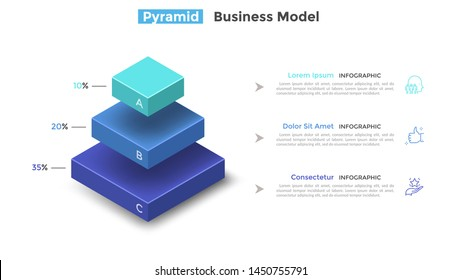 Tiered pyramid diagram with 3 segments or layers and percentage indication. Concept of three levels of hierarchy. Modern infographic design template. Vector illustration for presentation, brochure.