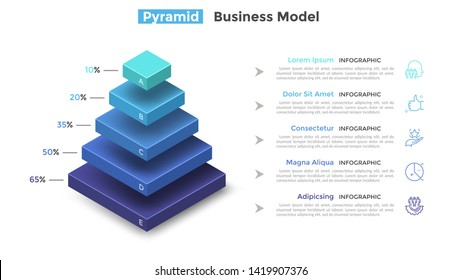 Tiered pyramid diagram with 5 segments or layers and percentage indication. Concept of five levels of hierarchy. Modern infographic design template. Vector illustration for presentation, brochure.