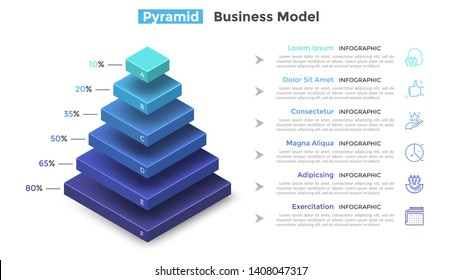 Tiered pyramid diagram with 6 segments or layers and percentage indication. Concept of six levels of hierarchy. Modern infographic design template. Vector illustration for presentation, brochure.