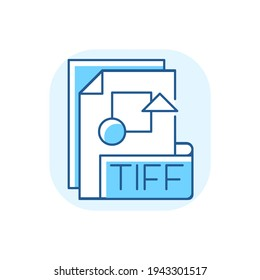 TIFF file blue RGB color icon. Tagged image file format. TIF. Professional photography. Printing and publishing industry. Raster graphics images storing. Isolated vector illustration