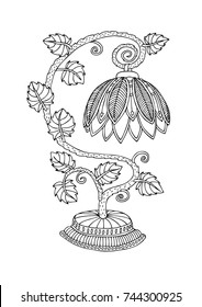 Tiffany style lighting. Hand drawn table lamp. Sketch for anti-stress adult coloring book in zentangle style. Vector illustration  for coloring page.