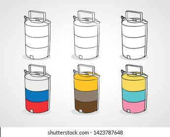 Tiffin carriers hand draw sketch vector. Tiffin carriers icon. - Vector
