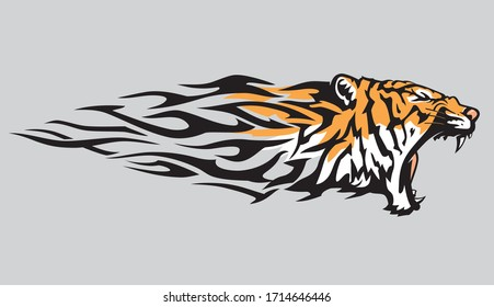 Tiger Abstract Flame, Illustration in Color