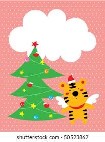 tiger angel christmas greeting tag