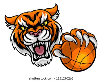 A Tiger angry animal sports mascot holding a basketball ball