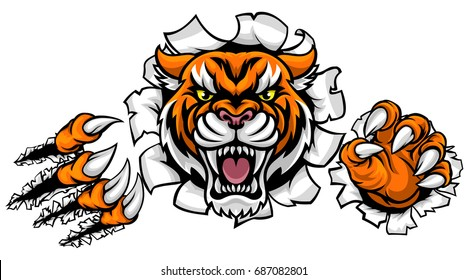 A Tiger angry animal sports mascot breaking through the background with its claws