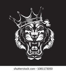 Tiger angry face tattoo. Vector illustration of big cat head. Tiger angry logo. Safari animal.