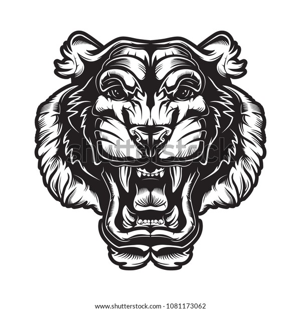 4c6138717 Tiger angry face tattoo. Vector illustration of big cat head. Cougar.  Mascot.