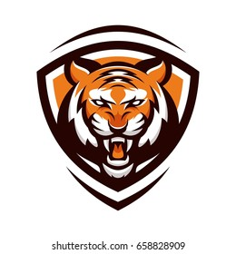 tiger animal mascot head vector illustration logo