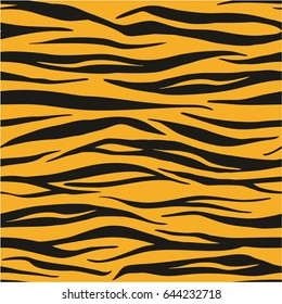 Tiger Animal Print Seamless Vector Pattern or Seamless Vector Background Concept
