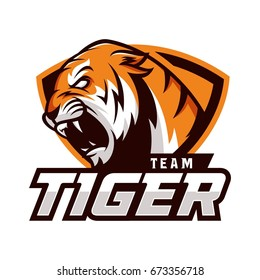 Tiger animal wild mascot sport logo illustration vector