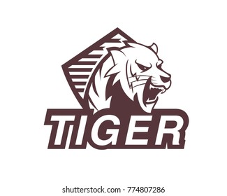 Tiger animal wild mascot sport logo illustration vector, Icon on white background