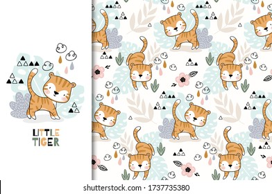 Tiger baby Jungle animal character icon. Cute kids card and seamless background. Hand drawn cartoon shirt print illustration. Surface design.