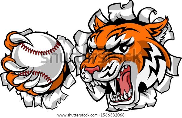 Abeka | Clip Art | Tiger Playing Baseball—with bat and ball