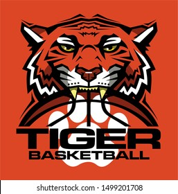 tiger basketball team design with half mascot face and ball for school, college or league